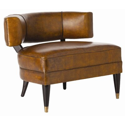 Laurent Glazed Top Barrel Chair Upholstery: Mottled Brown, Finish: Brass