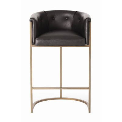 Calvin Bar Stool Upholstery: Black