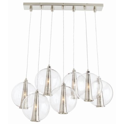 7-Light Kitchen Island Pendant Color: Polished Nickel / Clear