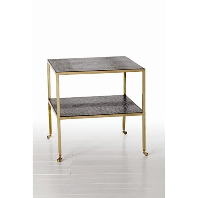 Cheap ARTERIORS Home Freud Croc Embossed Leather End Table in Antique Brass (ARN1094)