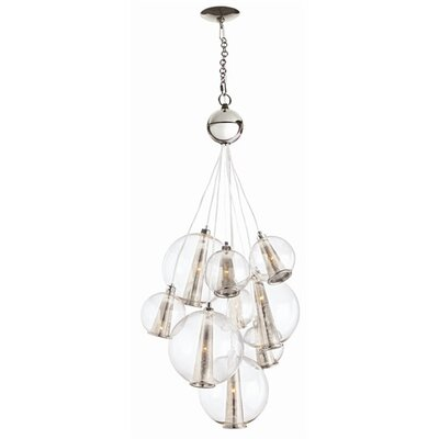 Image of Caviar 8-Light Cluster Pendant Color: Polished Nickel / Clear, Size: Medium