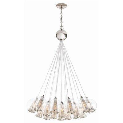 Caviar 18-Light Cluster Pendant Finish: Polished Nickel / Clear