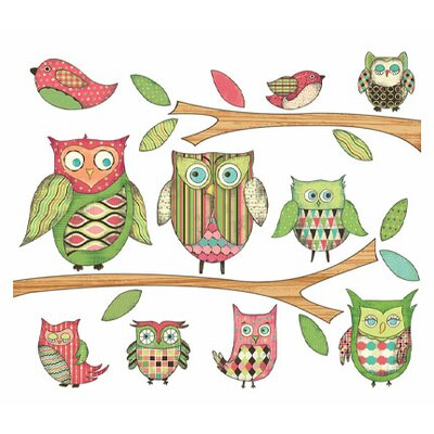 Owls Branches Pre-pasted Accent Wall Decal Color: Pink