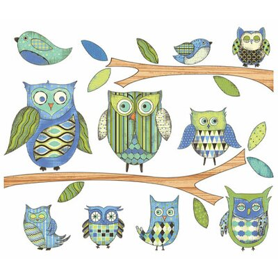 Owls Branches Pre-pasted Accent Wall Decal Color: Blue