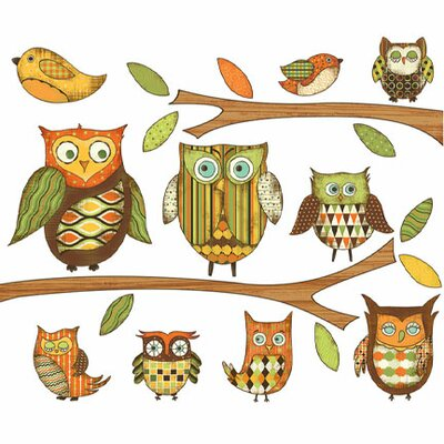 Owls Branches Pre-pasted Accent Wall Decal Color: Orange