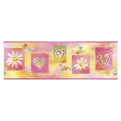 Whimisical Wall Hearts and Flowers Border in Multi
