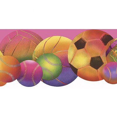 4 Walls Whimsical Children's Vol. 1 Neon Sports Balls Die-Cut Wallpaper Border - Color: Pink at Sears.com