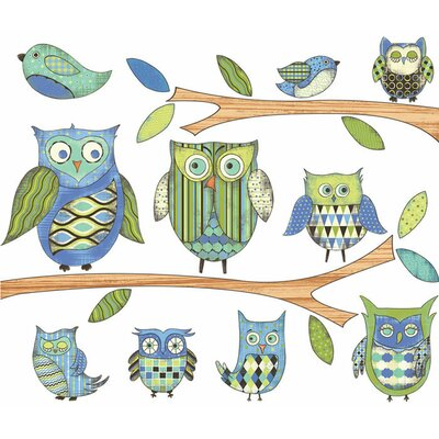 Owls Wall Decal Color: Blue