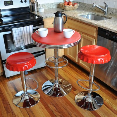 Southampton Retro Soda Cap 3 Piece Pub Table Set Finish: Red