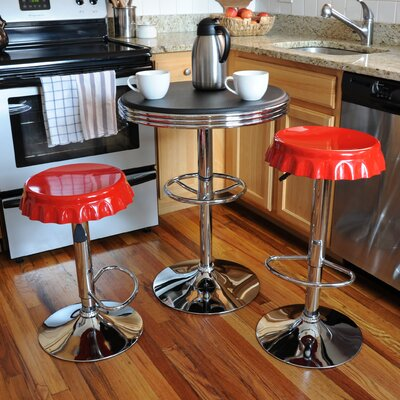 Southampton Retro Soda Cap 3 Piece Pub Table Set Finish: Contrast