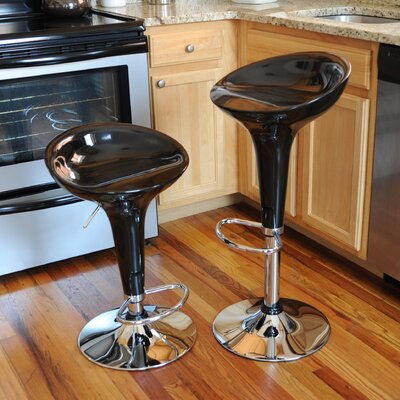 Shain Adjustable Height Swivel Bar Stool Upholstery: Black