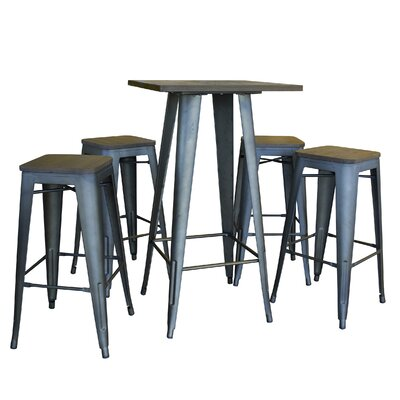 Racheal Loft 5 Piece Dining Set Finish: Rustic Gunmetal