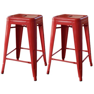 Racheal 24 Bar Stool Upholstery: Red