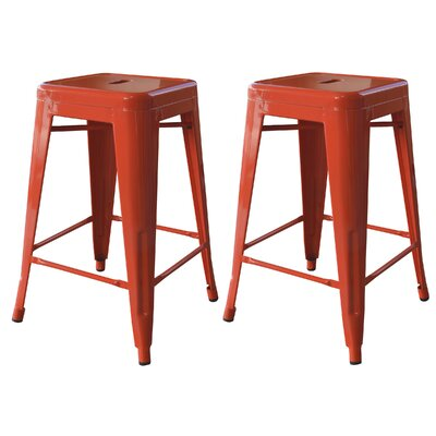 Racheal 24 Bar Stool Upholstery: Orange