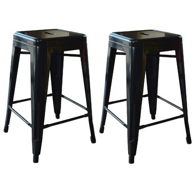 Racheal 24 Bar Stool Upholstery: Black