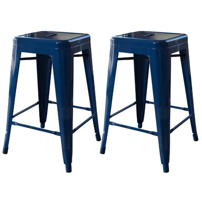 Racheal 24 Bar Stool Upholstery: Blue