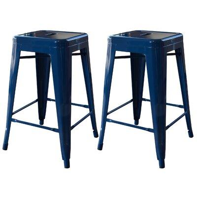 Racheal 24 inch Bar Stool Upholstery: Blue