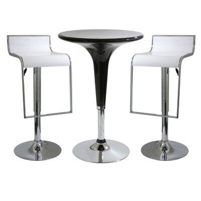 AmeriHome 3 Piece Adjustable Height Pub Table Set Color White Black