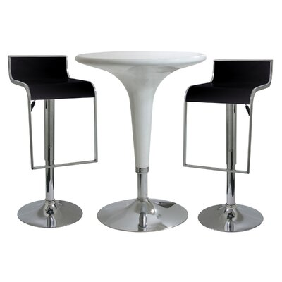 AmeriHome 3 Piece Adjustable Height Pub Table Set Color Black White