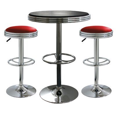 AmeriHome 3 Piece Adjustable Height Pub Table Set Color Red Stools Black Table