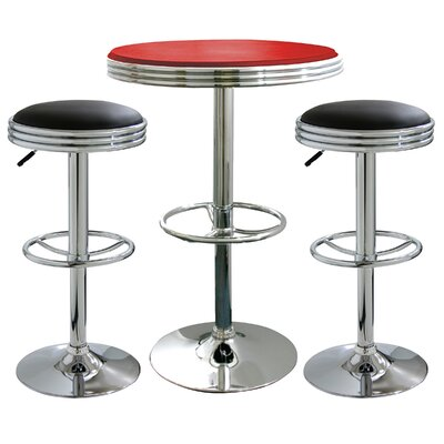 AmeriHome 3 Piece Adjustable Height Pub Table Set Color Black Stools Red Table