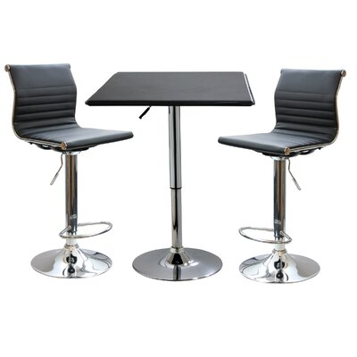 AmeriHome II 3 Piece Adjustable Height Pub Table Set
