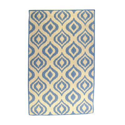 Ikat Blue/Natural Indoor/Outdoor Area Rug Rug Size: Rectangle 37 x 57