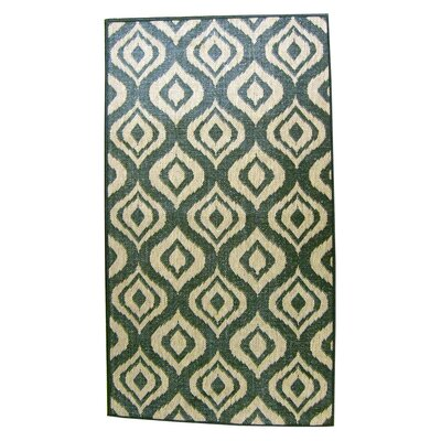 Ikat Green and Beige Outdoor/Indoor Area Rug Rug Size: 5 x 76