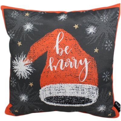 Be Merry Hat Outdoor Throw Pillow
