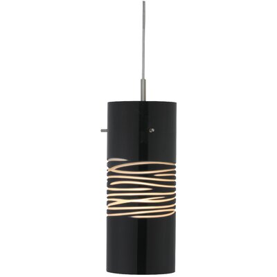 Dune 1-Light Mini Pendant Finish: Satin Nickel, Shade Color: Black / Sand, Canopy Type: Flat, Transformer, No Jack