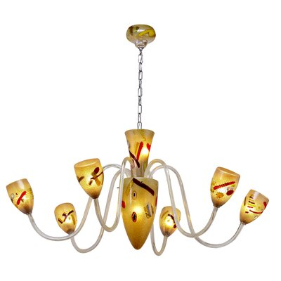 Fantasia Eclipse 8-Light Shaded Chandelier Finish: Amber, Size: 19 H x 48 W x 48 D
