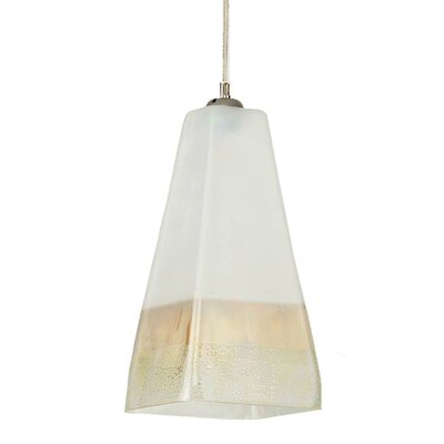 San Marco 1-Light Mini Pendant Type: 10 H x 6 W/Satin Nickel/White/E26