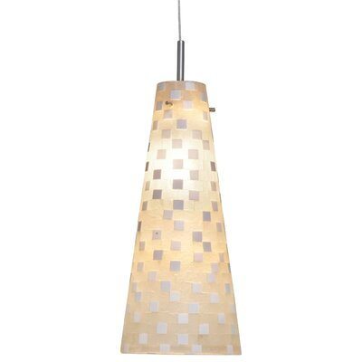 Mosaic Small Fry 1 Light Line Pendant Finish: Satin Nickel, Shade Color: White Check