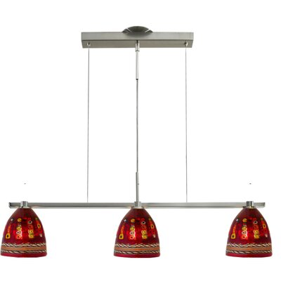 Elan 3-Light Kitchen Island Pendant Shade Color: Dolphin Red