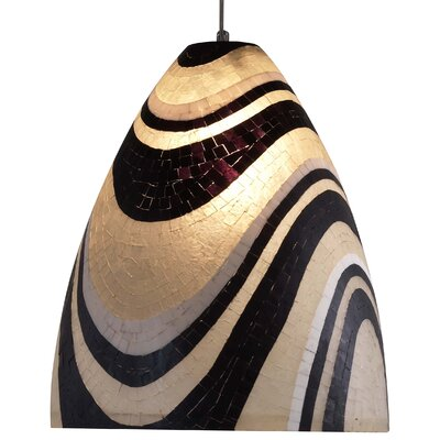 Mosaic Ben 1-Light Mini Pendant Finish: Dark Bronze, Shade Color: Red