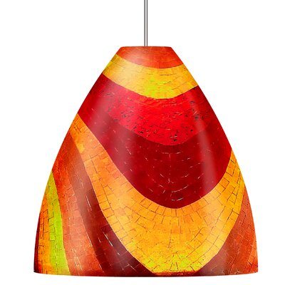 Mosaic Big Ben 1-Light Line Pendant with Flat Round Shape Finish: Satin Nickel, Shade Color: Red