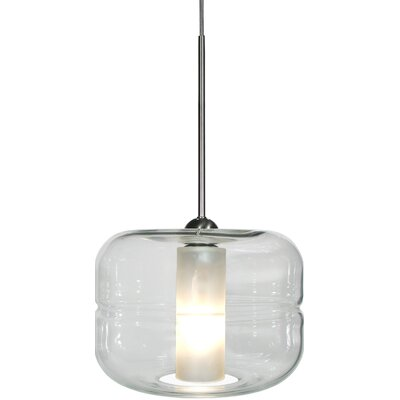 Helsinki 1-Light Mini Pendant Finish: Satin Nickel, Shade Color: Amber, Canopy Type: Flat Round