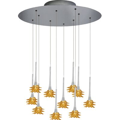 Mimosa 10-Light Cluster Pendant Shade Color: Amber