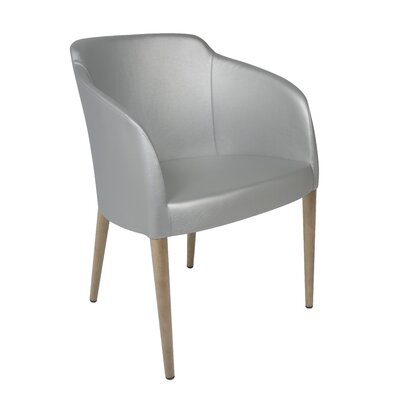 Estes Upholstered Dining Chair Upholstery: Silver, Finish: Oak
