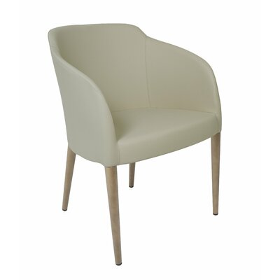Estes Arm Chair Upholstery: Taupe, Finish: Oak