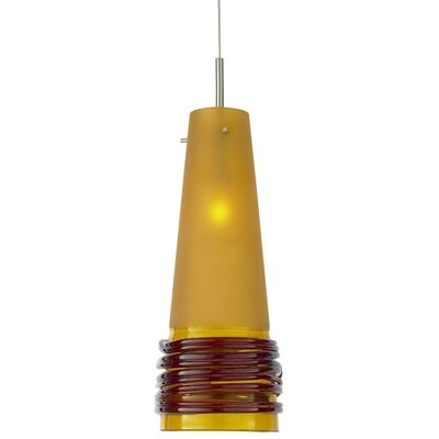 Fili 1-Light Mini Pendant Shade Color: Satin with Clear, Finish: Dark Bronze, Canopy Style: Dome