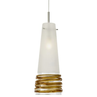 Fili Pendant Finish: Satin Nickel, Shade Color: Satin with Topaz, Canopy Style: Flush Round with Smart Jack and Transformer
