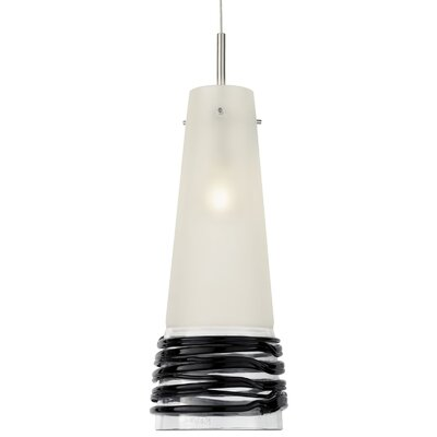 Fili 1-Light Mini Pendant Shade Color: Satin with Black, Finish: Satin Nickel, Canopy Style: Flat Round with Smart Jack and Transformer