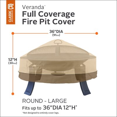 Veranda Fire Pit Cover Size: 30 Diameter
