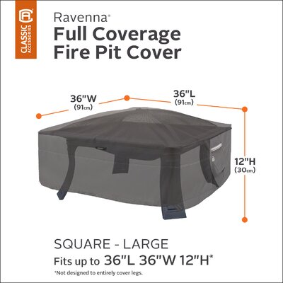 Ravenna Fire Pit Cover Size: 36 Square