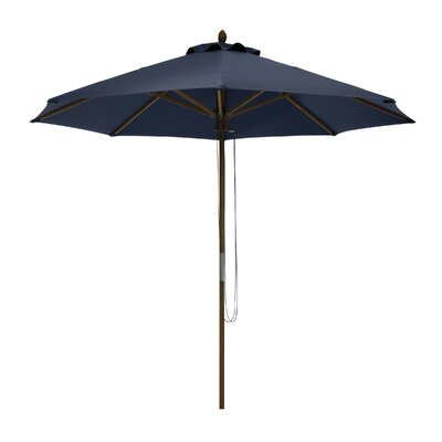 9 Montlake Classic Bamboo Market Umbrella Fabric: Heather Indigo