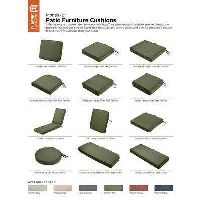 Montlake FadeSafe Rectangular Outdoor Dining Chair Cushion Fabric: Heather Fern Green, Size: 3 H x 21 W x 19 D