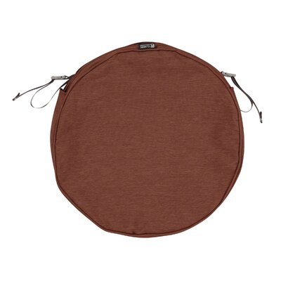 Montlake FadeSafe Round Outdoor Dining Chair Cushion Fabric: Heather Henna Red, Size: 2 H x 18 W x 18 D