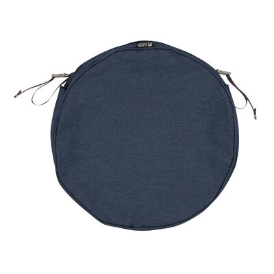 Montlake FadeSafe Round Outdoor Dining Chair Cushion Fabric: Heather Indigo Blue, Size: 2 H x 18 W x 18 D