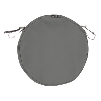Montlake FadeSafe Round Outdoor Dining Chair Cushion Fabric: Light Charcoal Gray, Size: 2 H x 18 W x 18 D